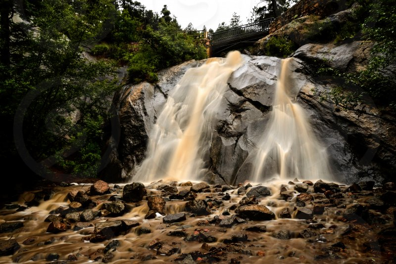 Waterfall, landscape, storm, mud, Colorado