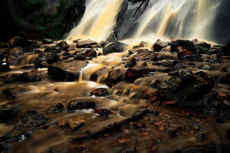 Waterfall, somber, mud, rocks, storm, Colorado